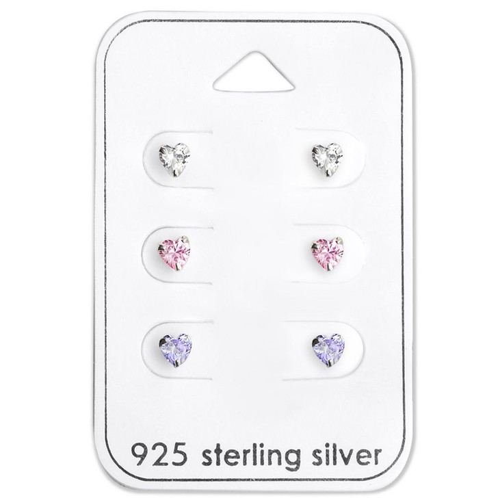 Silver Heart Ear Studs Set with Cubic Zirconia on Card