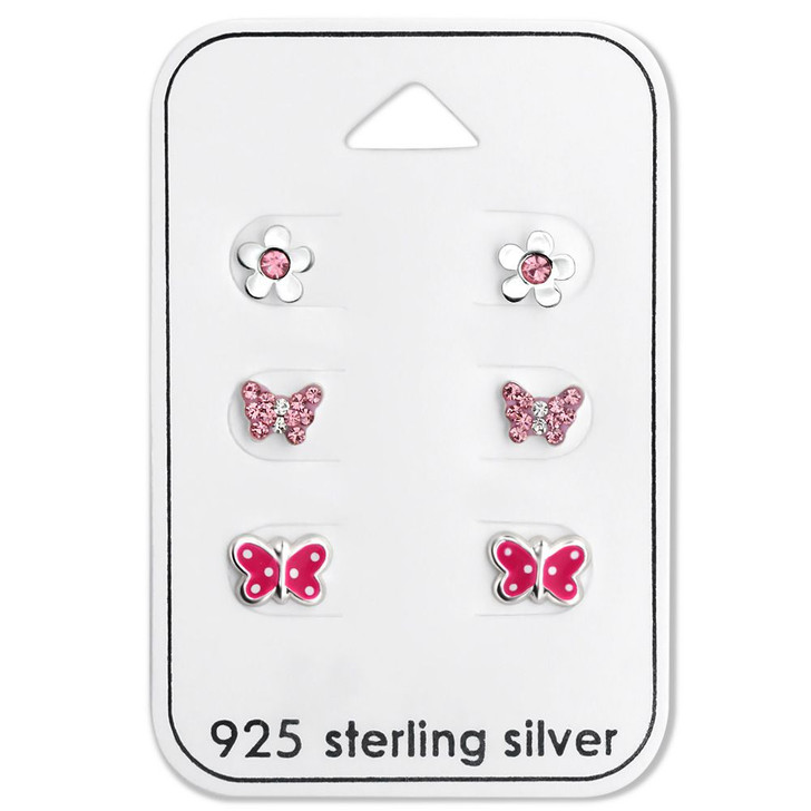 Silver Butterfly Ear Studs Set with Crystal and Epoxy on Card