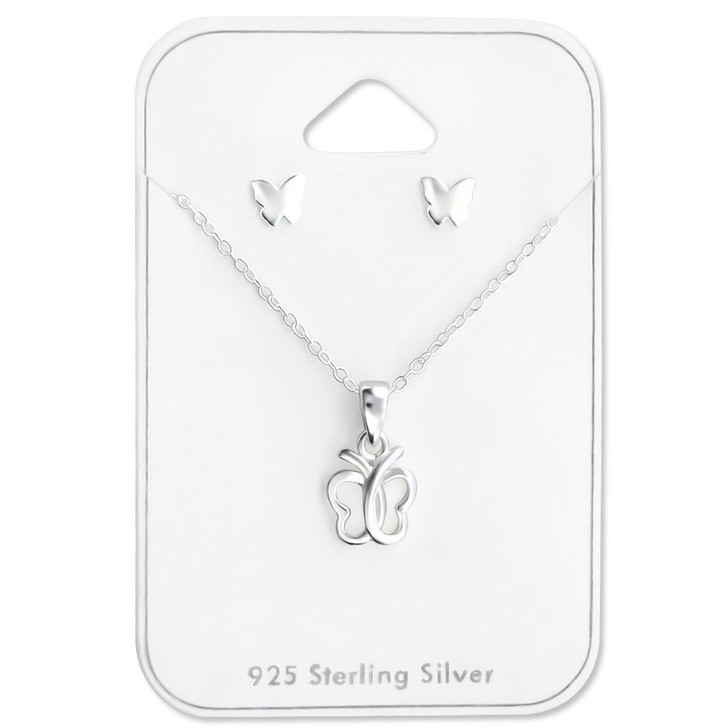 Silver Butterfly Set on Card