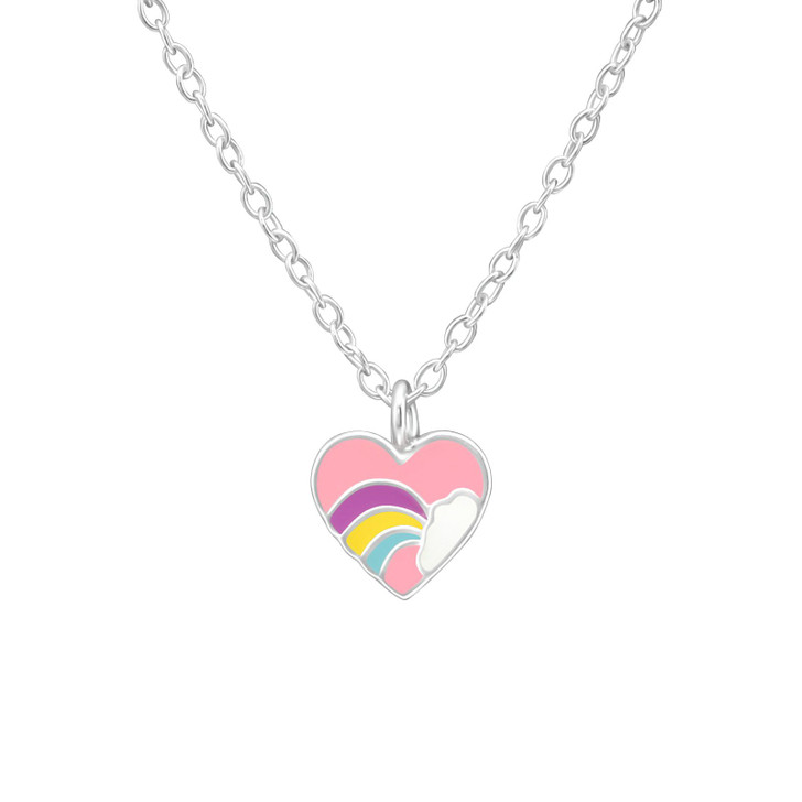Children's Silver Heart Necklace with Epoxy