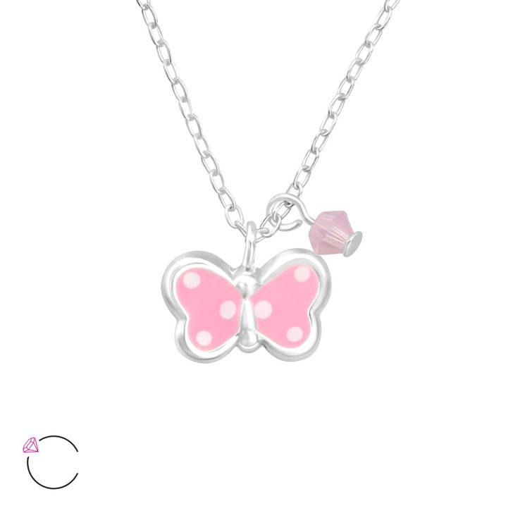 La Crystale Children's Silver Butterfly Necklace with Crystals