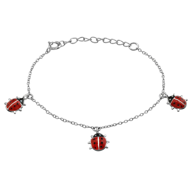 Children's Silver Ladybug Bracelet with Epoxy