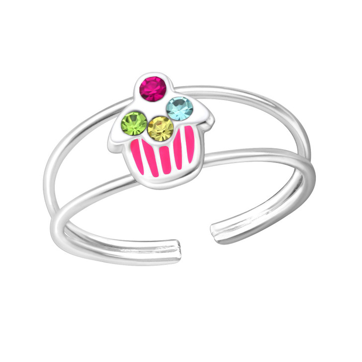 Children's Silver Cupcake Adjustable Ring with Crystal and Epoxy