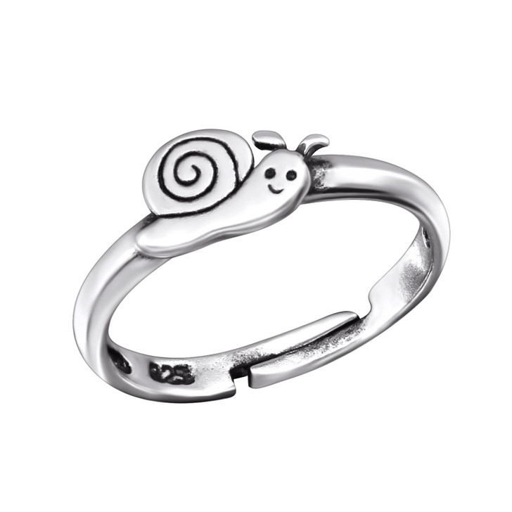 Children's Silver Snail Adjustable Ring