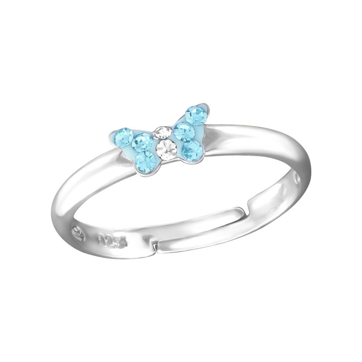 Children's Silver Small Butterfly Adjustable Ring with Crystal