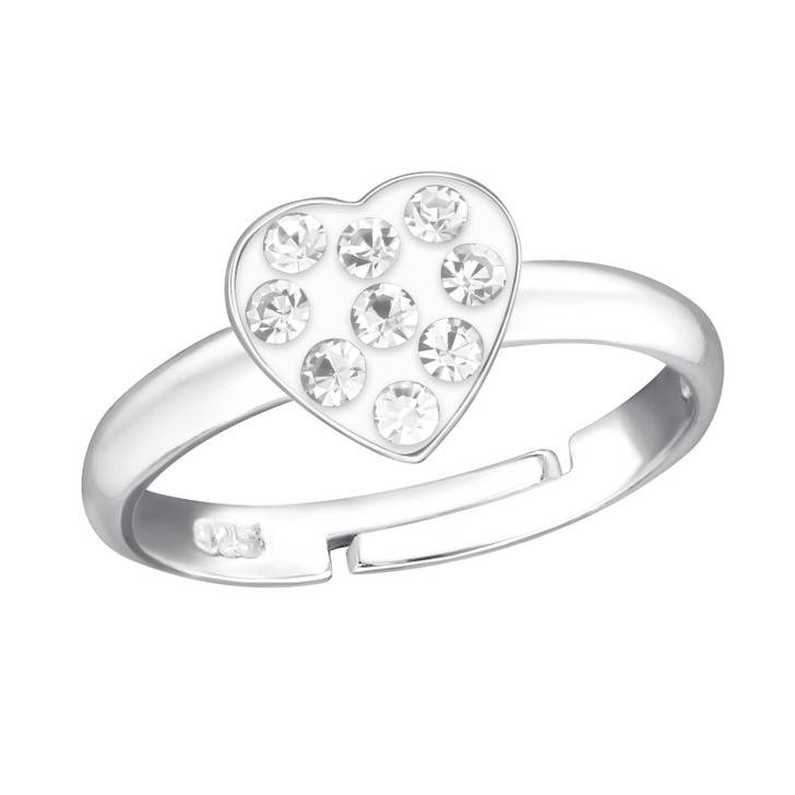 Children's Silver Heart Adjustable Ring with Crystal
