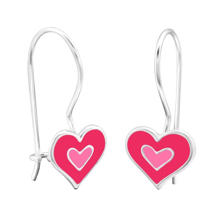 Children's Silver Heart Earrings with Epoxy