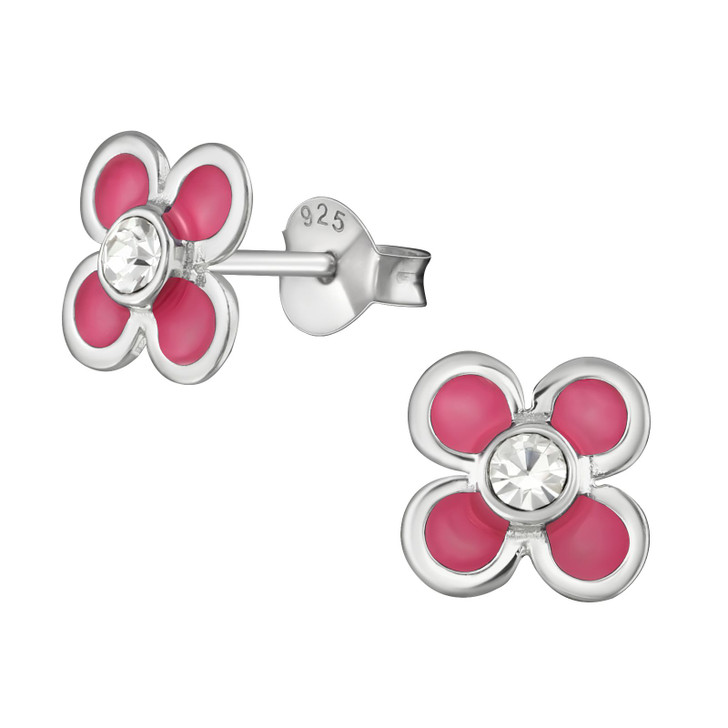 Children's Silver Flower Ear Studs with Crystal and Epoxy