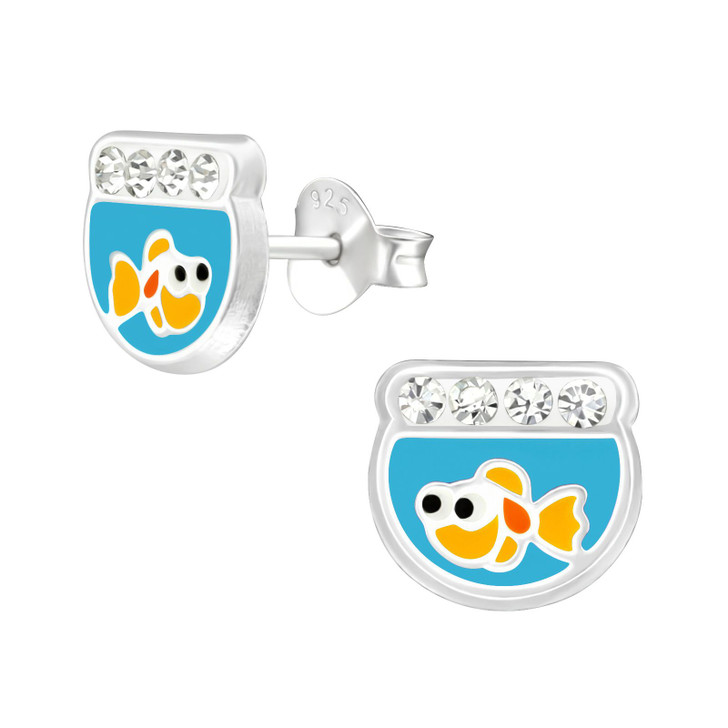Children's Silver Fish Bowl Ear Studs with Crystal and Epoxy