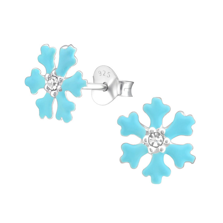 Children's Silver Snowflake Ear Studs with Crystal and Epoxy