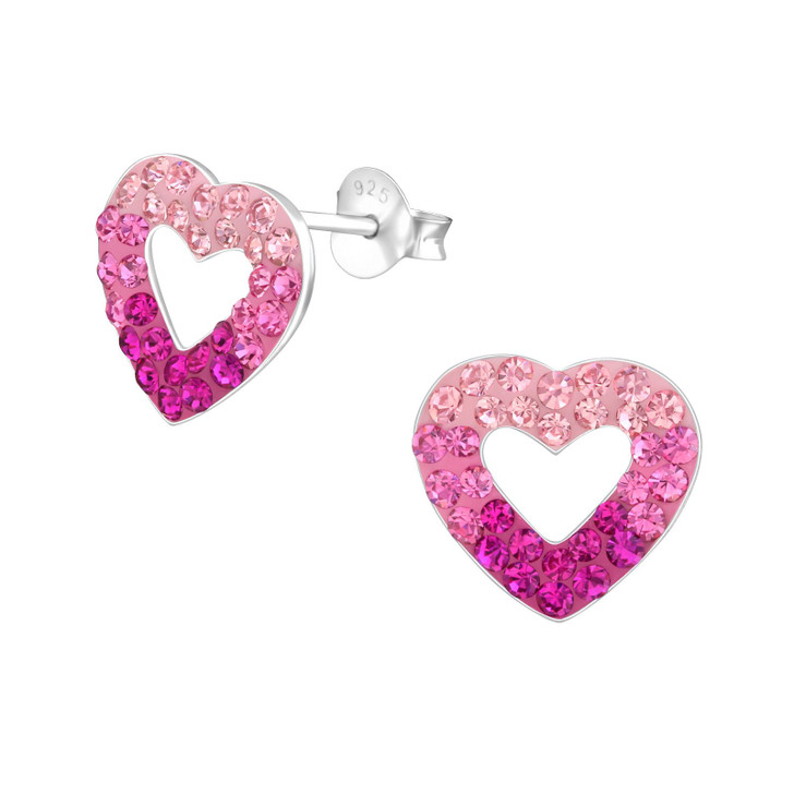 Children's Silver Heart Ear Studs with Crystal