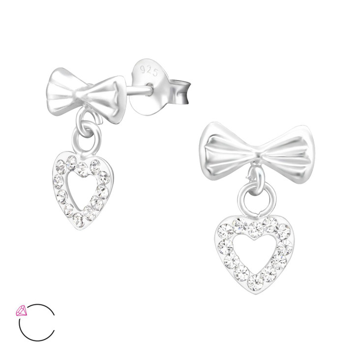 La Crystale Children's Silver Bow with Hanging Heart Ear Studs and Crystals