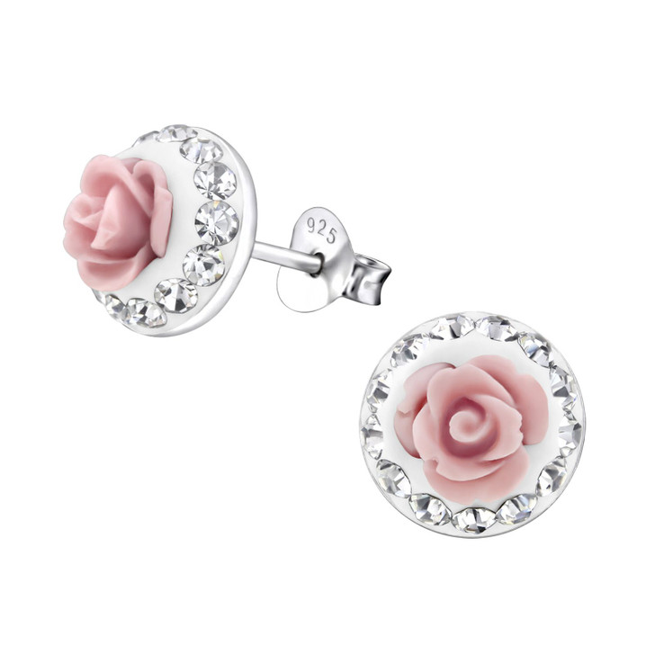 Children's Silver Rose Ear Studs with Crystal and Plastic