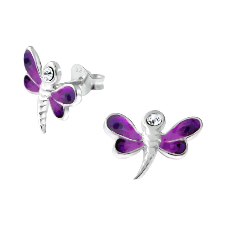 Children's Silver Dragonfly Ear Studs with Crystal Dark Purple