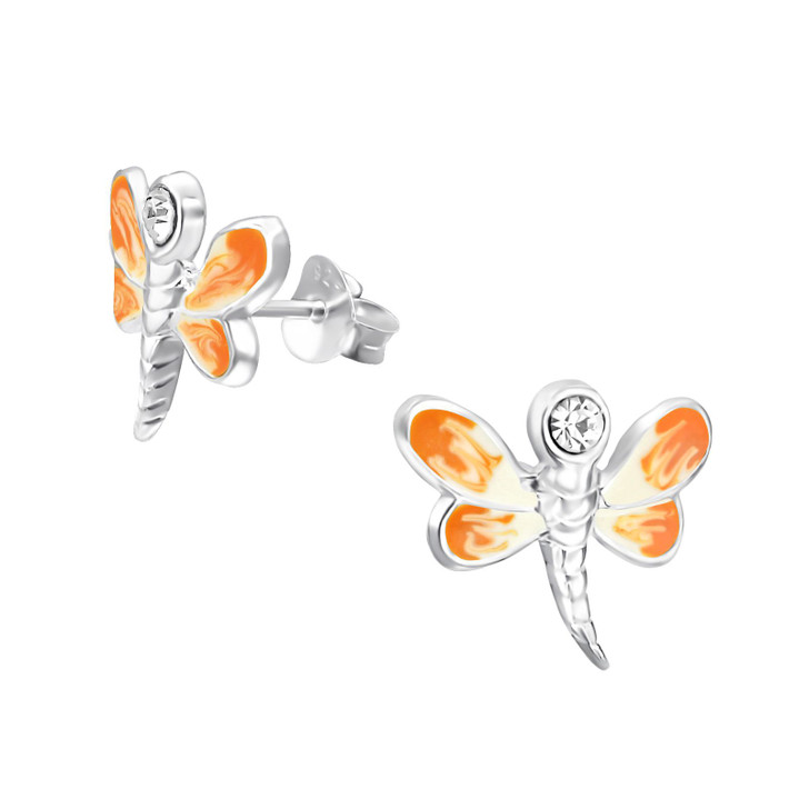 Children's Silver Dragonfly Ear Studs with Crystal Orange
