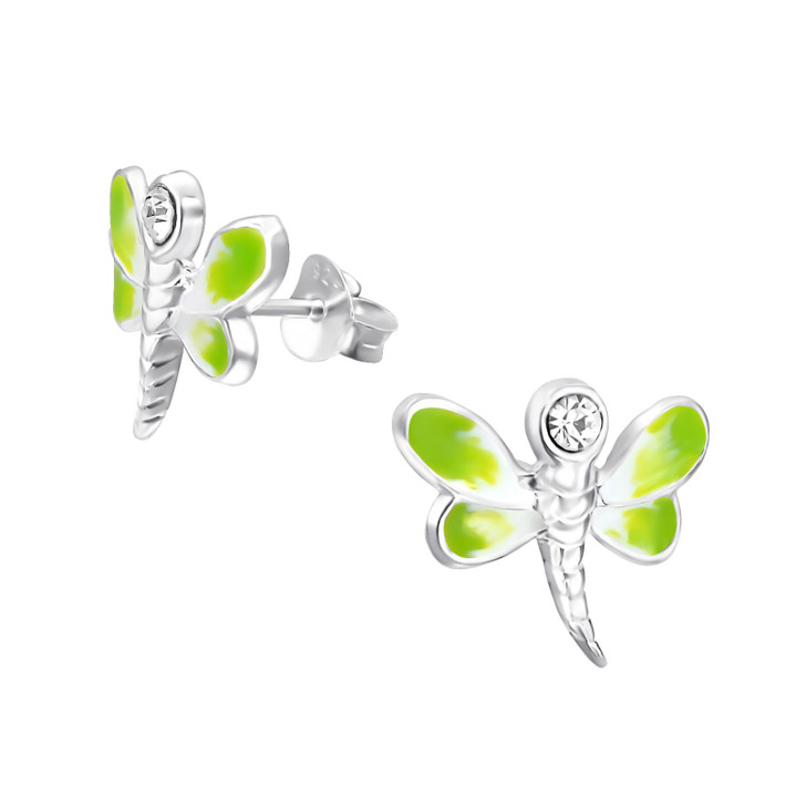 Children's Silver Dragonfly Ear Studs with Crystal Green