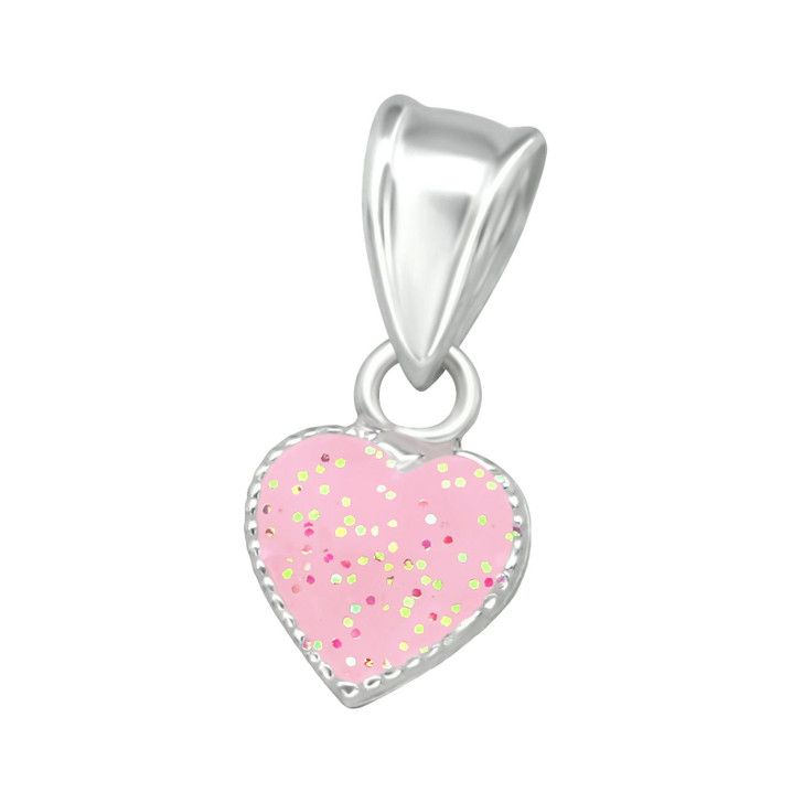 Children's Silver Pink Heart Pendant