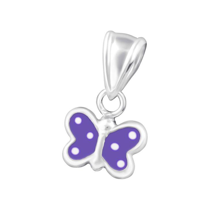 Children's Silver Butterfly Pendant Purple