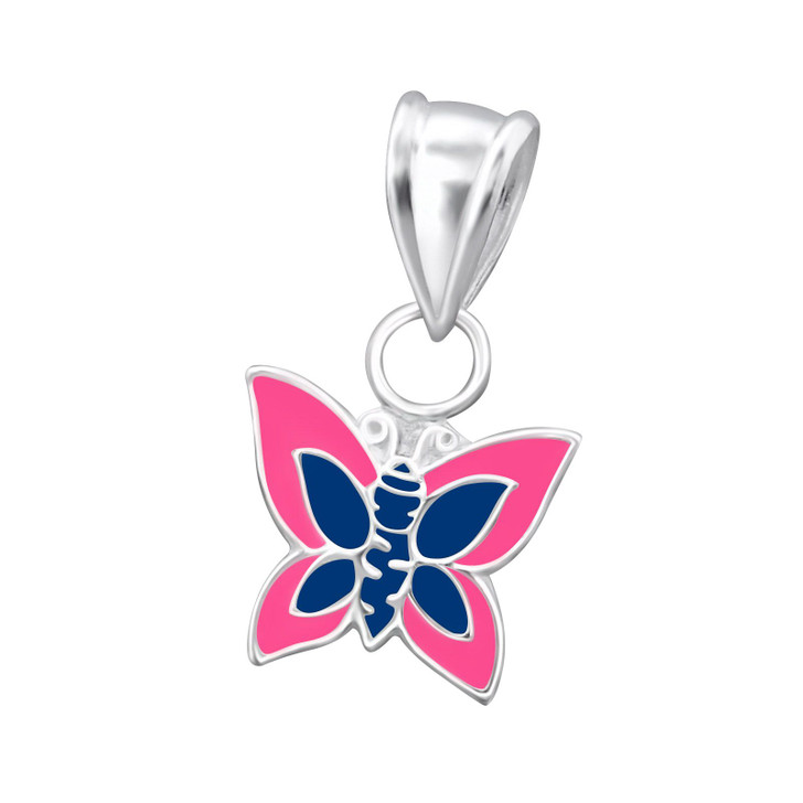 Children's Silver Butterfly Pendant Blue/Pink