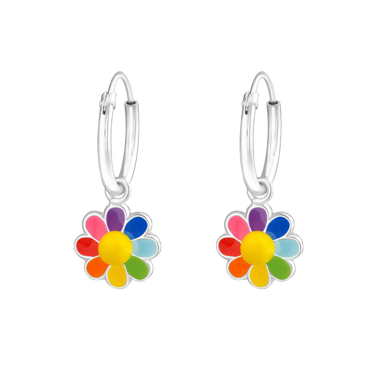 Children's Silver Ear Hoops with Hanging Flower