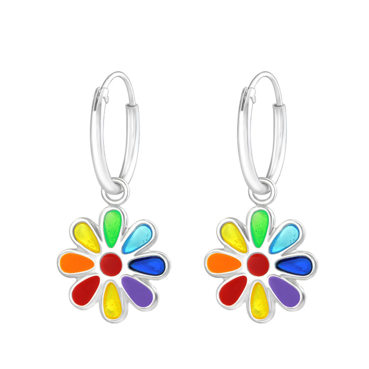 Children's Silver Ear Hoop with Hanging Flower