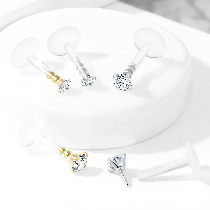 Prong Set Round CZ 316L Surgical Steel Top Push In Bio Flex Flat Back Studs for Labret, Monroe, Ear Cartilage