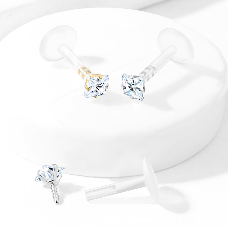 Prong Set Square CZ 316L Surgical Steel Top Push In Bio Flex Flat Back Studs for Labret, Monroe, Ear Cartilage