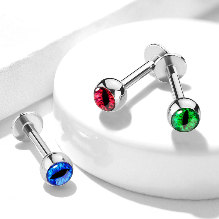 Snake Eye Inlaid Ball 316L Surgical Steel Labret, Monroe & Cartilage Studs
