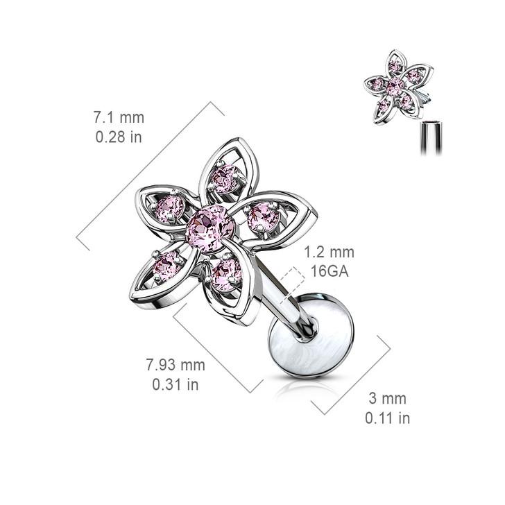 CZ Set Flower Top 316L Surgical Steel Internally Threaded Labret, Monroe & Ear Cartilage Studs