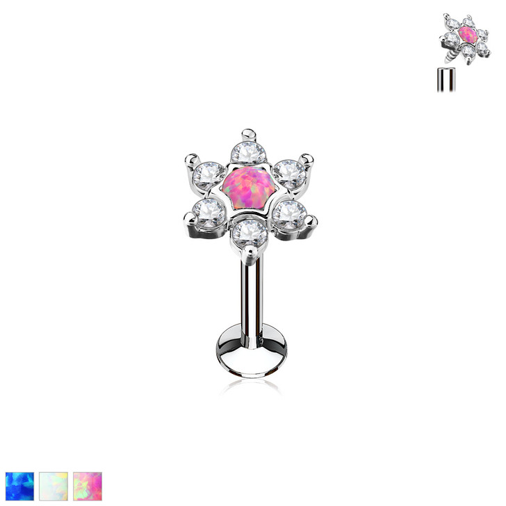 Opal Centered CZ Star Top 316L Surgical Steel Internally Threaded Labret, Monroe & Cartilage Studs