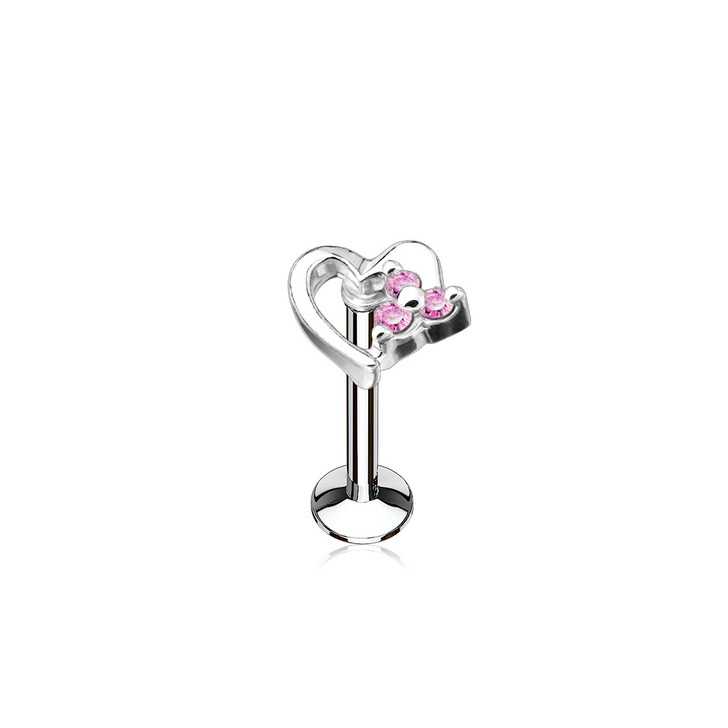 CZ Set Hollow Heart Top 316L Surgical Steel Internally Threaded Labret, Monroe & Cartilage Studs