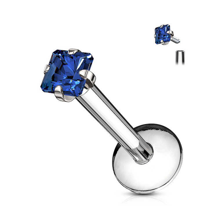 Square CZ Prong Set Labret 316L Surgical Steel Internally Threaded