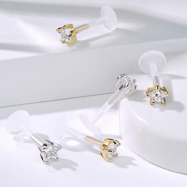Star CZ Prong Set 14 Kt. Solid Gold Top with PTFE Flex Shaft Labret & Monroe