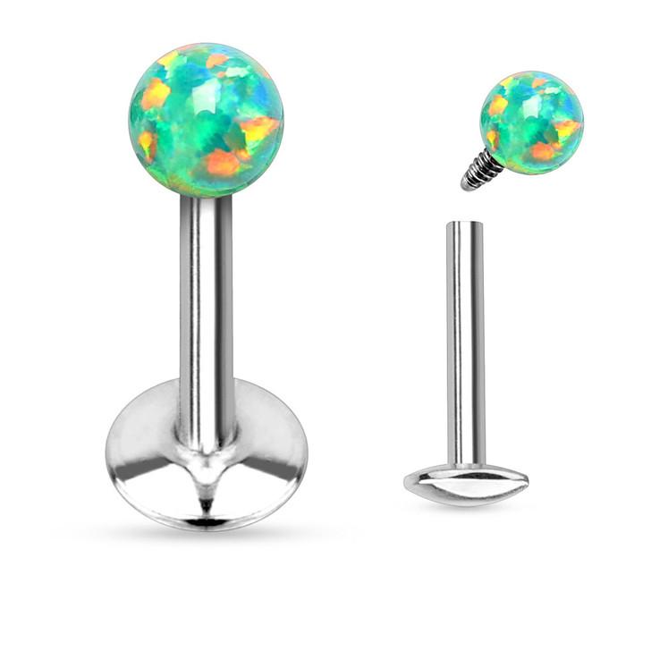 Opal Ball Top Internally Threaded 316L Surgical Steel Labret & Monroe