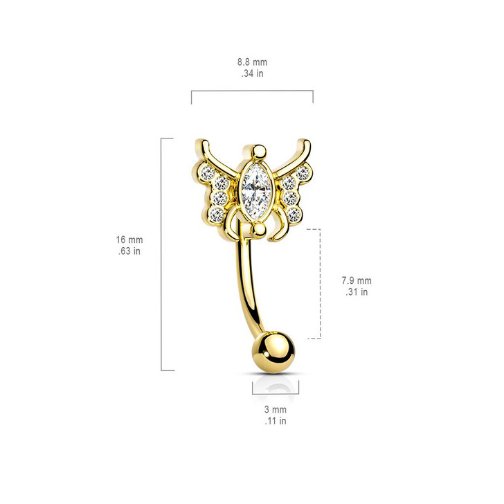Marquise Crystal Center Crystal Paved Butterfly 316L Surgical Steel Curved Barbells & Eyebrow RIngs