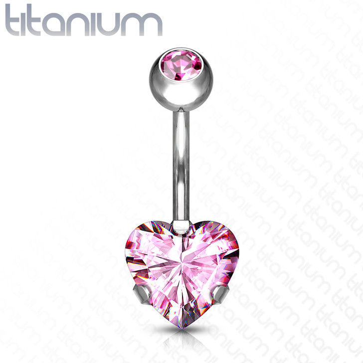 Prong Set Heart CZ Double Jeweled Implant Grade Titanium Belly Button Navel Ring