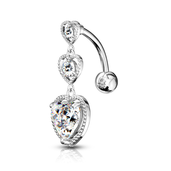 Triple Heart Vertical Drop with Large Heart CZ Bottom Heart Top Drop 316L Surgical Steel Belly Button Ring