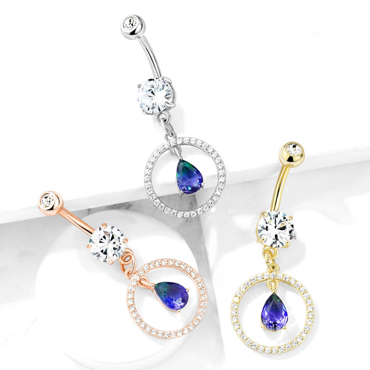CZ Paved Circle with Green and Blue Two Tone CZ Dangle Double Jeweled 316L Surgical Steel Belly Button Navel Ring