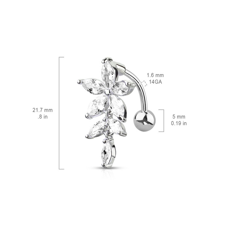 Marquise CZ Flower with Marquise CZ Vines 316L Surgical Steel Top Drop Belly Button Navel Rings