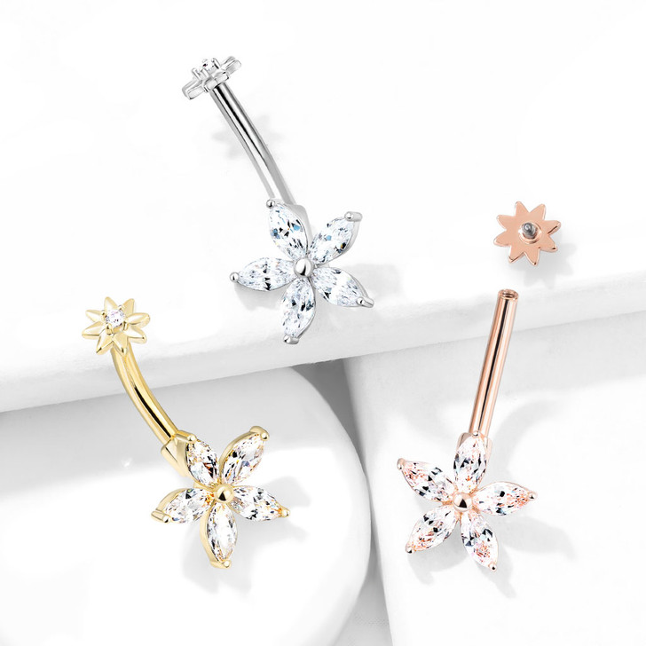 5 Marquise CZ Petals Flower Internally Threaded CZ Center Small Flower Top 316L Surgical Steel Belly Button Navel Ring