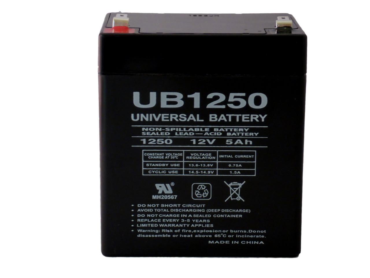 12V, 5Ah, 5000mAh, F2 Terminal, AGM, SLA Replacement UB1250 Universal Sealed Lead Acid Battery Napco Alarms MA1016E Battery