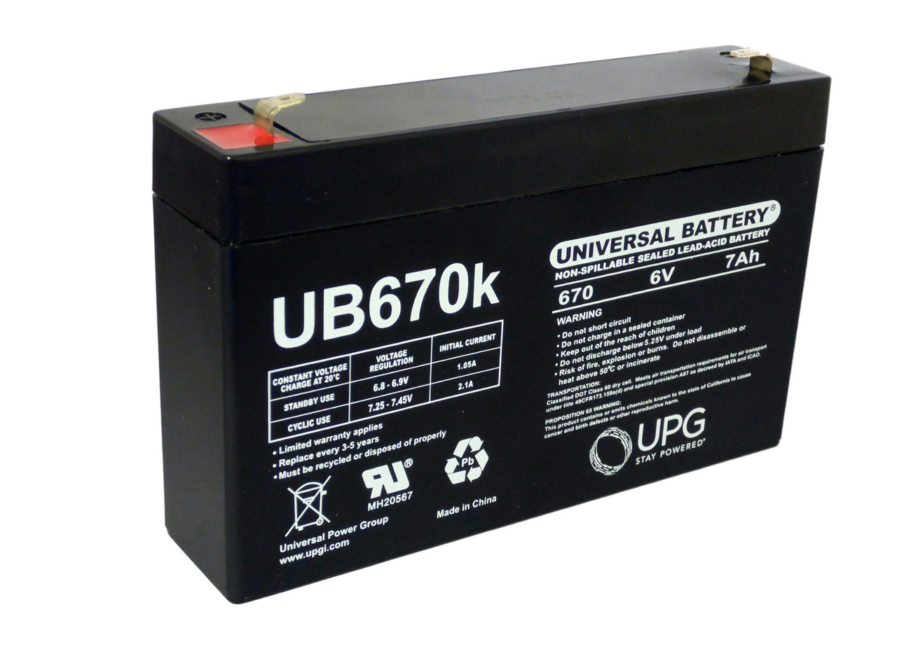 WKA6-10F 6V 10Ah Battery Replacement