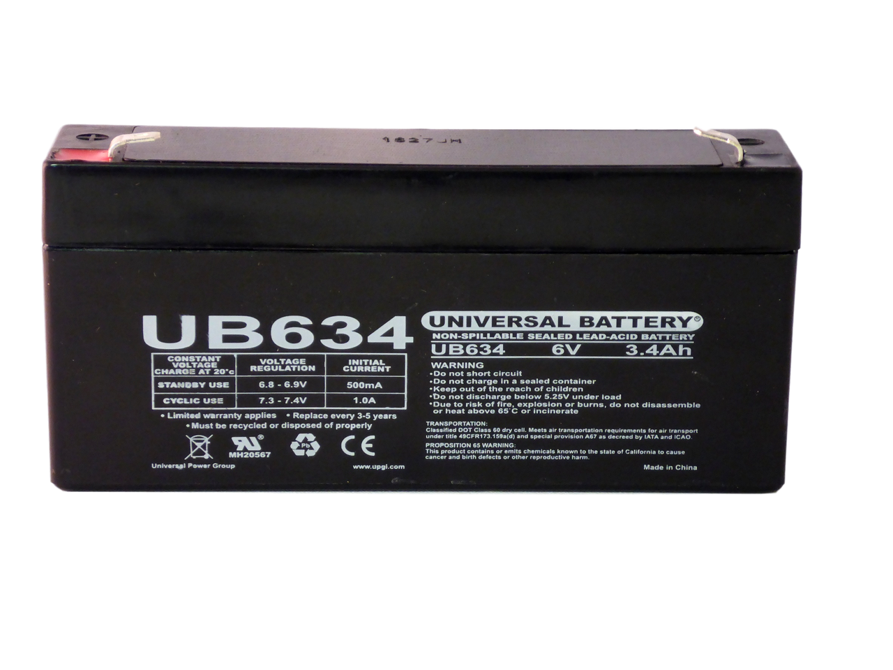 Universal Power Group 12V 1.3Ah SLA Sealed Lead Acid AGM Battery