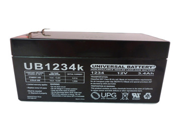 12 Volts 3.4Ah -Terminal F1 - SLA/AGM Battery - UB1234 Side View | Battery Specialist Canada