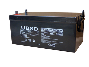 12 Volts 250Ah -Terminal L4 - UB-8D AGM Angle View | Battery Specialist Canada