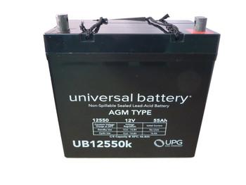 UB12550 (Group 22NF) 12V 55AH SLA Battery INTERNAL THREAD TERMINAL Top View| batteryspecialist.ca