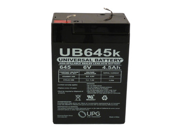 Universal Battery Replacement for RBC1 - 6 Volts 4.5Ah -Terminal F1- SLA/AGM Battery - UB645 Front View | Battery Specialist Canada