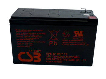 F6C127-BAT-AVR UPS CSB Battery - 12 Volts 7.5Ah - 60 Watts Per Cell - Terminal F2 - UPS123607F2 Side| Battery Specialist Canada
