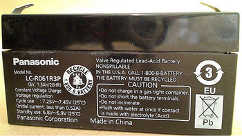 3624 TELLER Panasonic SLA Battery - LC-R061R3P - 6V 1.3Ah - Terminal Size 0.187| Battery Specialist Canada