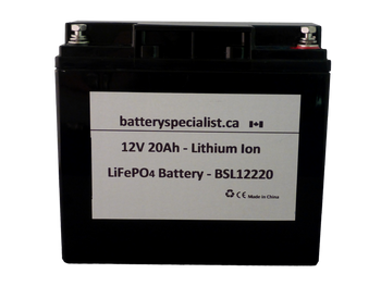 Lithium Ion Battery - 12V 20Ah - With Protective Circuit Board | Battery Specialist Canada